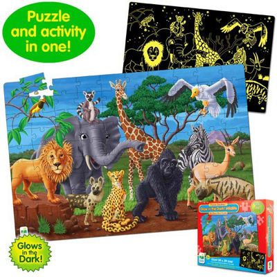 The Learning Journey Puzzle Doubles - Glow In TheDark - Wildlife