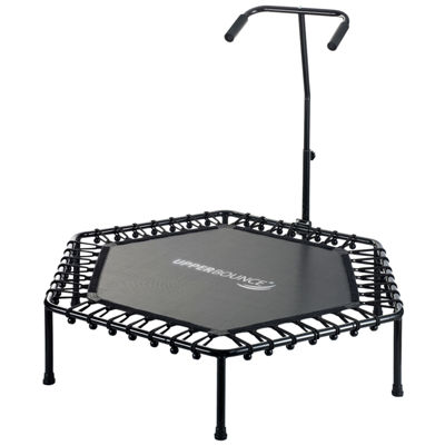 "Upper Bounce 50"" Hexagonal Fitness Mini-Trampoline – T-Shaped Adjustable Hand Rail – Bungee Cord Suspension"
