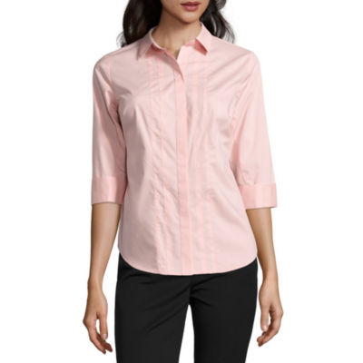 Worthington® Elbow Sleeve Button-Front Oxford Shirt - Petite