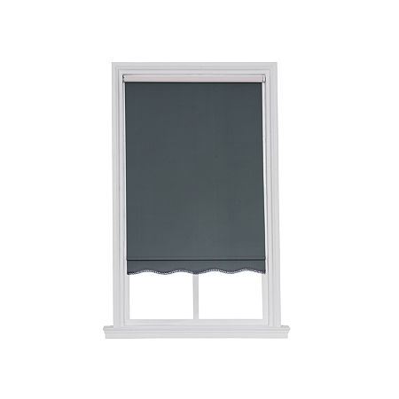 JCPenney Home Charlotte Cut-to-Width Fringed Cordless Thermal Roller Shade, One Size , Gray