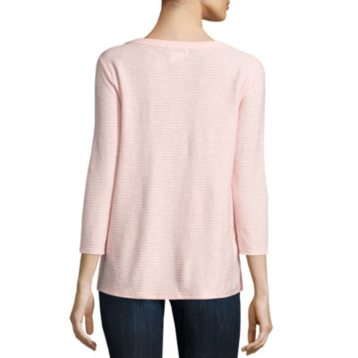 Liz Claiborne 3/4 Sleeve Y Neck Shadow Stripe T-Shirt-Petites