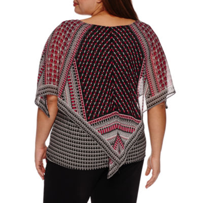 Alyx Short Sleeve Printed Woven Overlay Blouse-Plus