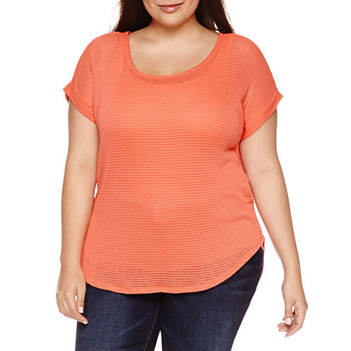 a.n.a Short Sleeve Round Neck T-Shirt-Womens Plus