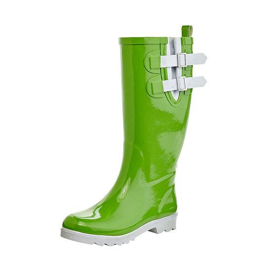 Henry Ferrera Womens Black Stone Rain Boots Flat Heel