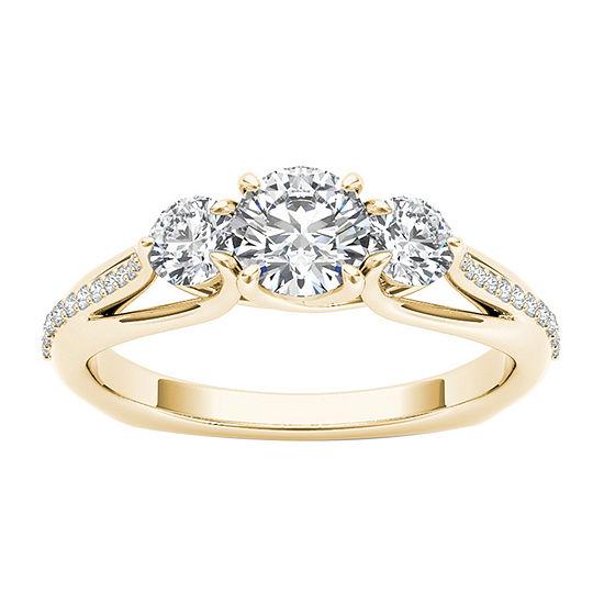 Womens 1 1/2 CT. T.W. Genuine White Diamond 14K Gold 3-Stone Engagement Ring