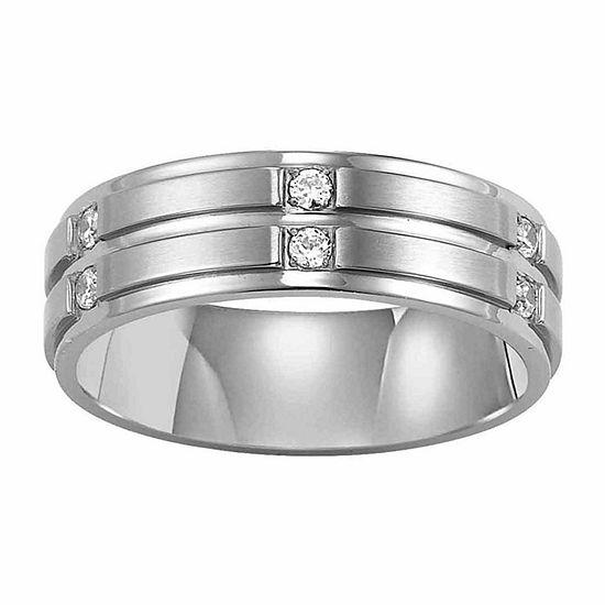 Unisex Adult 7 Mm 1/6 CT. T.W. Genuine White Diamond Stainless Steel Wedding Band