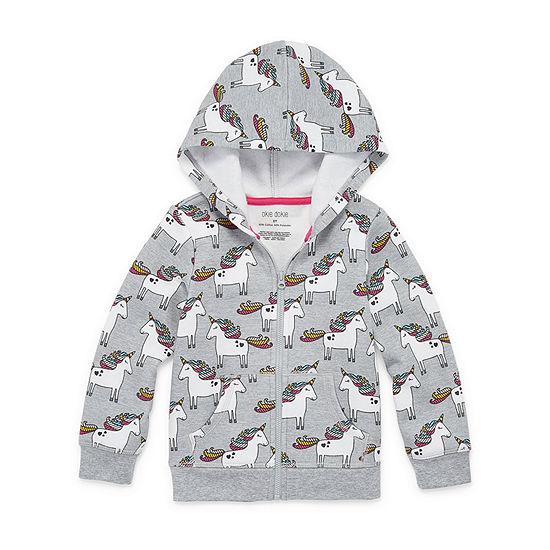 Okie Dokie Fleece Toddler Girls Cuffed Sleeve Hoodie