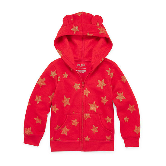 Okie Dokie Fleece Girls Cuffed Sleeve Hoodie-Toddler
