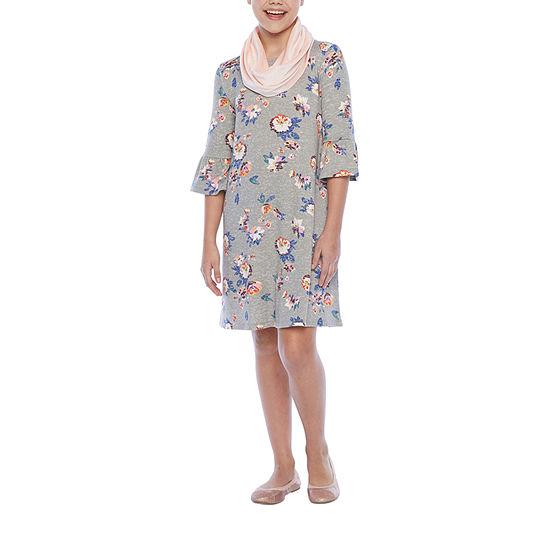 Arizona - Little Kid / Big Kid Girls 2-pc. 3/4 Sleeve Bell Sleeve Floral A-Line Dress
