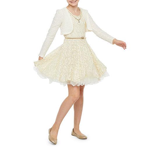 Knit Works Little & Big Girls Sleeveless Jacket Dress