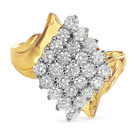 DiamonArt® Womens Simulated White Cubic Zirconia 18K Gold Over Silver Cluster Cocktail Ring