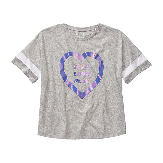 Xersion Little & Big Girls Round Neck Short Sleeve T-Shirt