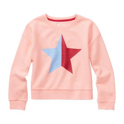 Xersion Little & Big Girls Round Neck Long Sleeve Sweatshirt