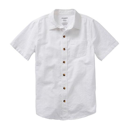 Arizona Little & Big Boys Short Sleeve Button-Down Shirt