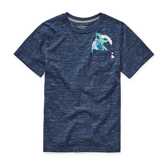 Arizona Little & Big Boys Short Sleeve Pocket Graphic T-Shirt
