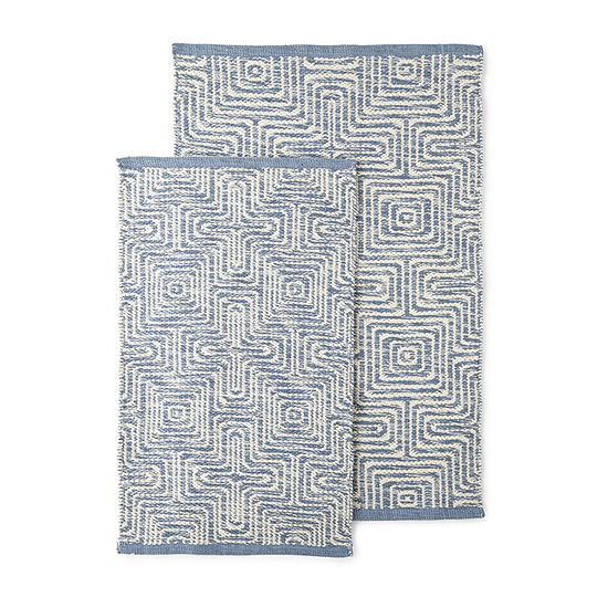 VCNY Geometric Woven Rectangular Reversible 2-pc. Rug Set