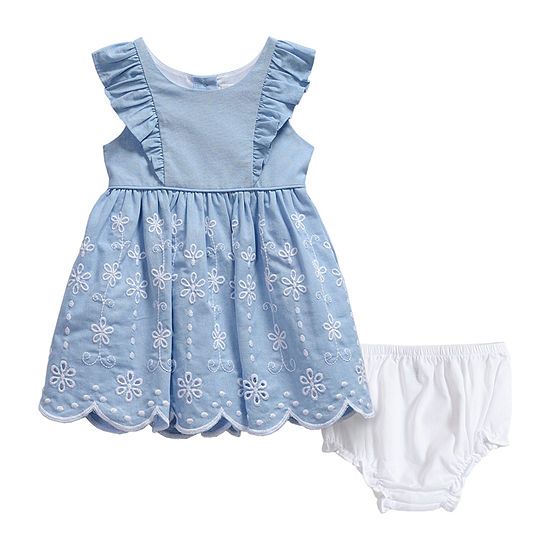 Youngland Baby Girls Sleeveless Flutter Sleeve Eyelet A-Line Dress