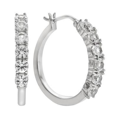 Lab Created White Sapphire Sterling Silver Hoop Earrings