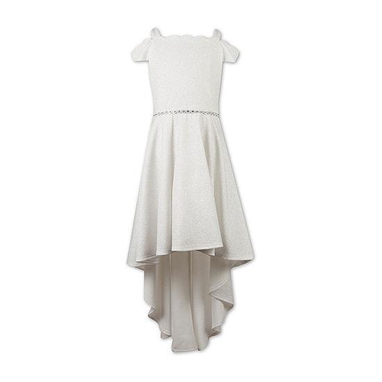 Speechless Girls Embellished Short Sleeve Cold Shoulder Sleeve Party Dress