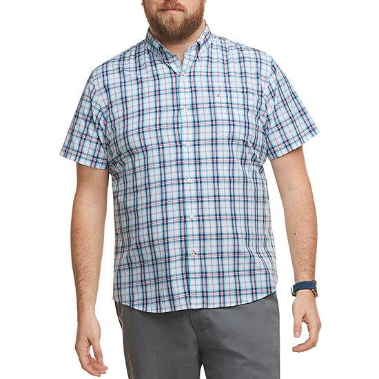 IZOD Big and Tall Mens Short Sleeve Button-Down Shirt