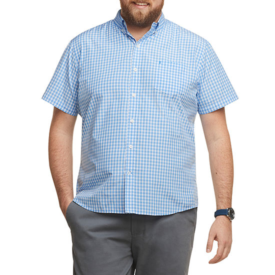 IZOD Big and Tall Mens Short Sleeve Button-Front Shirt