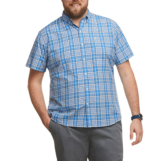 IZOD Big and Tall Advantage Performance Wovens Mens Short Sleeve Cooling Plaid Button-Front Shirt
