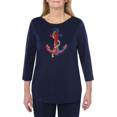 Cathy Daniels Marina Del Rey-Womens Scoop Neck 3/4 Sleeve T-Shirt