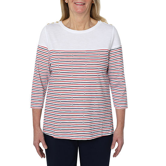 Cathy Daniels Marina Del Rey-Womens Scoop Neck 3/4 Sleeve T-Shirt