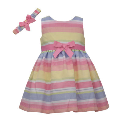 Bonnie Jean Multicolor  Stripe Baby Girls Sleeveless Striped A-Line Dress