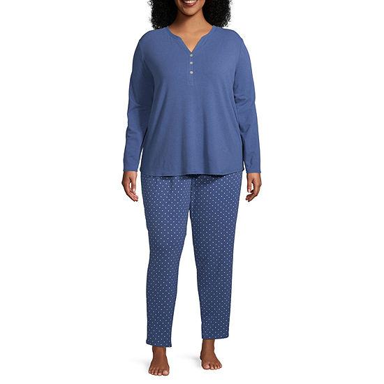Liz Claiborne Womens-Plus Pant Pajama Set 2-pc. Long Sleeve