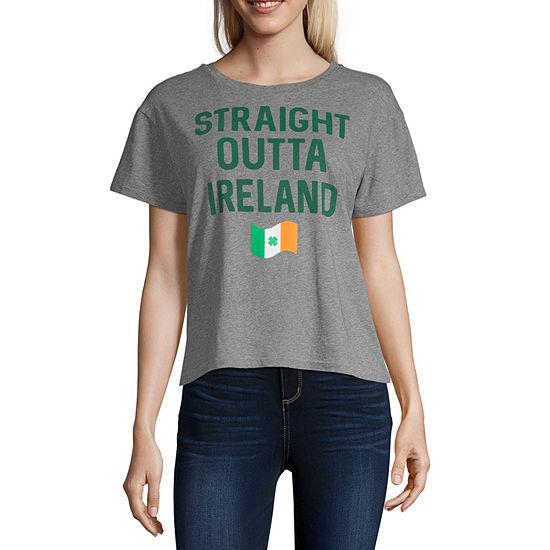 Juniors Womens Round Neck Short Sleeve Graphic T-Shirt