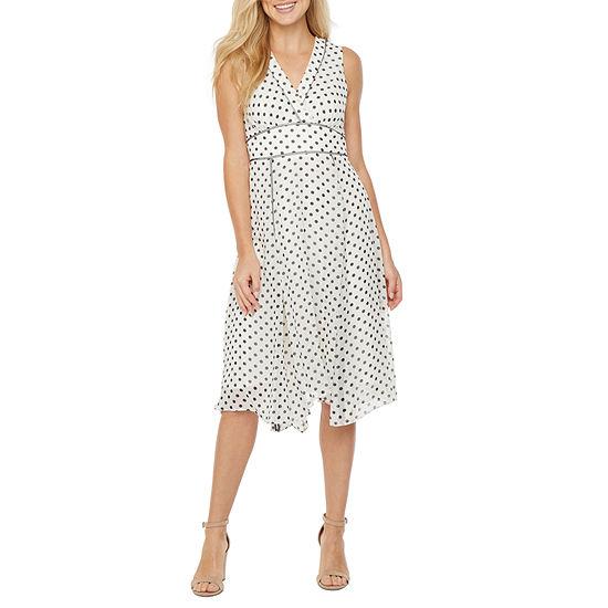 Danny & Nicole Sleeveless Dots Fit & Flare Dress