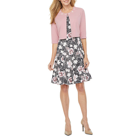 Perceptions 3/4 Sleeve Floral Puff Print Jacket Dress