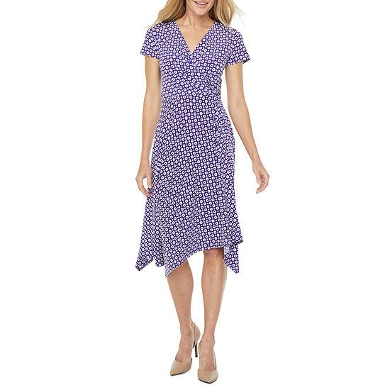 Perceptions Short Sleeve Circle Puff Print Fit & Flare Dress