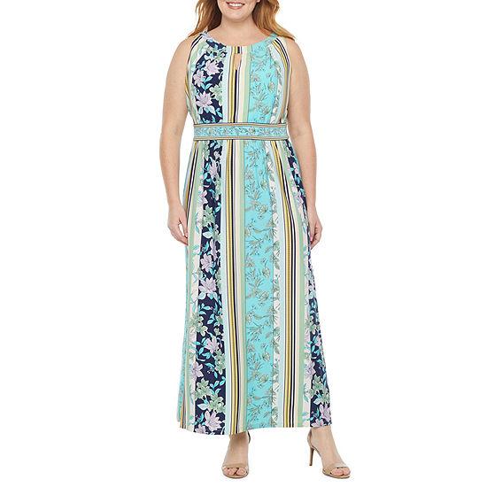 London Times-Plus Sleeveless Floral Maxi Dress