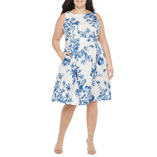 Danny & Nicole Sleeveless Floral Fit & Flare Dress - Plus