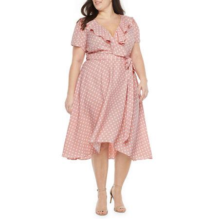 Vintage Polka Dot Dresses – 50s Spotty and Ditsy Prints Danny  Nicole Short Sleeve Polka Dot Fit  Flare Dress -Plus 20w  Pink $41.24 AT vintagedancer.com