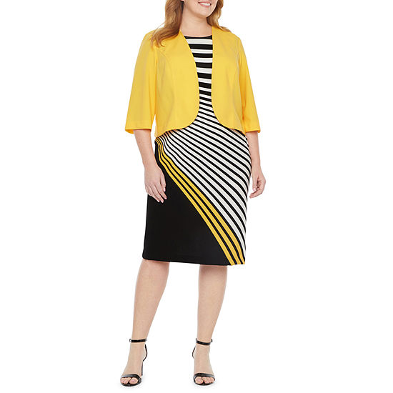 Maya Brooke-Plus 3/4 Sleeve Jacket Dress