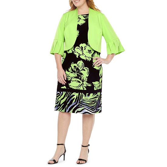 Maya Brooke-Plus 3/4 Sleeve Midi Jacket Dress