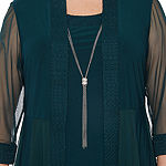 R & M Richards-Plus 3/4 Sleeve Jacket Dress with Necklace