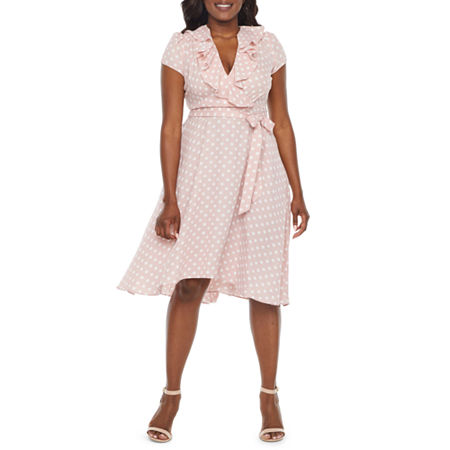 1930s Day Dresses, Afternoon Dresses History Danny  Nicole-Petite Short Sleeve Polka Dot Fit  Flare Dress 8 Petite  Pink $37.49 AT vintagedancer.com