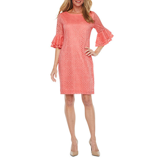 Liz Claiborne Short Tiered Bell Sleeve Diamond Lace Sheath Dress