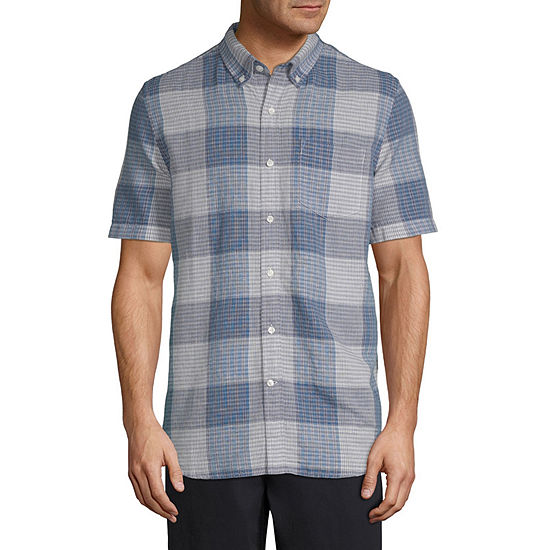 St. John's Bay Linen Blend Mens Short Sleeve Plaid Button-Front Shirt