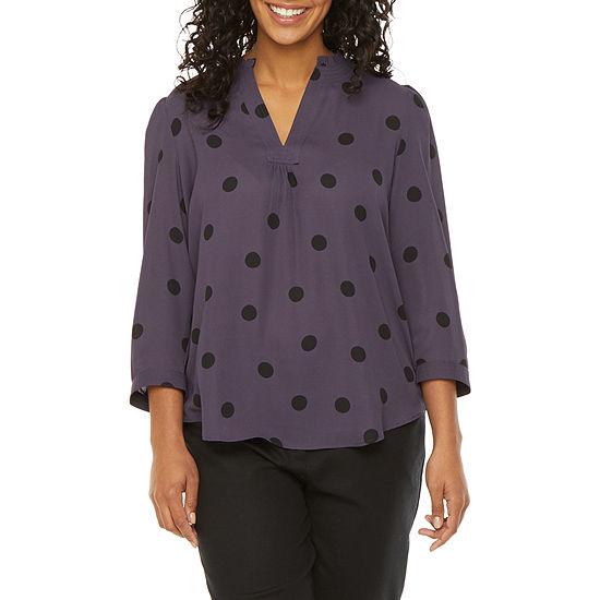 Worthington Womens 3/4 Sleeve Blouse - Petite