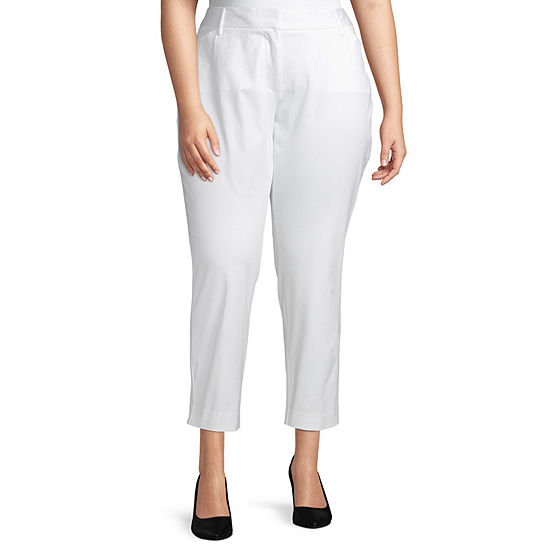 Worthington Womens Classic Fit Ankle Pant - Plus