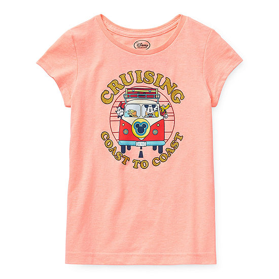 Disney Collection Little & Big Girls Crew Neck Minnie Mouse Short Sleeve Graphic T-Shirt