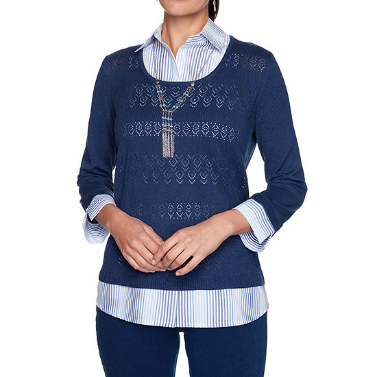 Alfred Dunner Denim Friendly Womens Round Neck 3/4 Sleeve Ombre Layered Sweaters