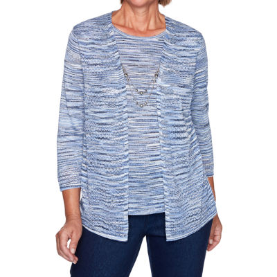Alfred Dunner Denim Friendly Womens Round Neck 3/4 Sleeve Layered Sweaters