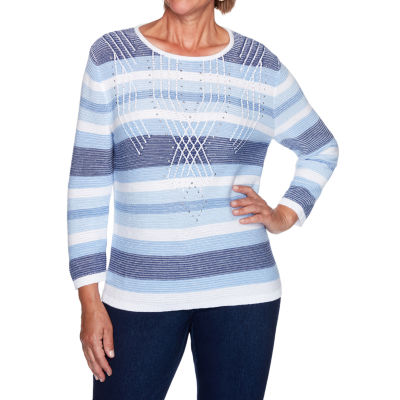 Alfred Dunner Denim Friendly Womens Round Neck 3/4 Sleeve Striped Pullover Sweater