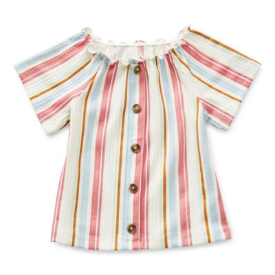 Okie Dokie Toddler Girls Square Neck Short Sleeve Blouse